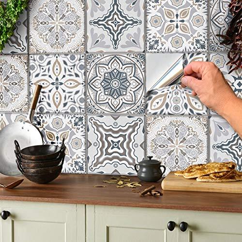24 stück Mosaik Bodenaufkleber Wandfliese Aufkleber für 15x15cm Fliesen Fliesenaufkleber für Bad und Küche Deko Fliesenfolie für Bad u. Küche (Grau und Weiß, 15x15 cm)