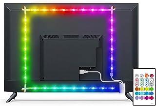 Led TV Hintergrundbeleuchtung, MYPLUS 2M USB Led Beleuchtung mit Fernbedienung Und DIY Farbwechsel RGB LED Streifen für 3...