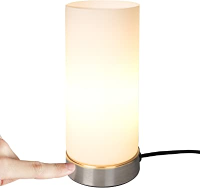 Jago® Lampe de Table Tactile - en Forme de Cylindre, Ampoule E14, Max. 40 W ou LED Dimmable, Hauteur 25 cm, 3 Niveaux d'Intensité - Lampe de Chevet, à Poser