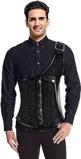 Men's One-Shoulder Steampunk Gothic Brocade Waistcoat Corset Vest