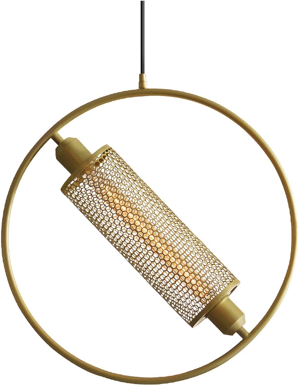 Lumière pendentife lustres ronds en fer forgé, or noir réglable plafond lampe café bar restaurant chambre luminaire suspension décorative (Couleur   Or-grand)