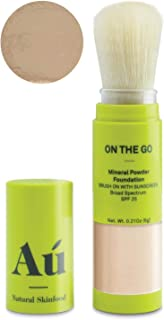 On the Go Mineral Powder Tinted Brush-on Sunscreen by Au Natural Skinfood | Broad Spectrum SPF 25 | Oil-free; Paraben, Fragrance Free in Medium | Certified | Food For Your Skin | .21 ounce