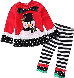 Baby Girls 2 Pieces Christmas Santa Long Sleeve Shirt Pants Outfit Set