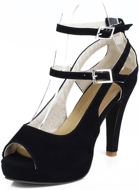Ladola Womens Spikes Stilettos Metal Buckles Platform Urethane Sandals DIU00549