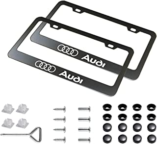Auto sport 2pcs License Plate Frames with Screw Caps Set Stainless Steel Frame Applicable to US Standard Cars License Plate Fit Audi Accessory