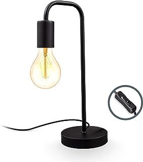 B.K.Licht I Lampe de table rétro, lampe de lecture en forme de lampadaire courbé, métal noir mat, douille E27, câble avec ...