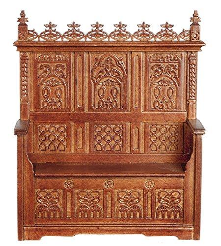 Melody Jane Dollhouse Gothic Monks Bench Walnut Miniature JBM Furniture