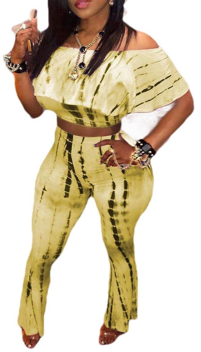 どういたしましてキリンチーフWomens Sexy Ruffled Crop Tops Palazzo Flared Pants Two Piece Sets