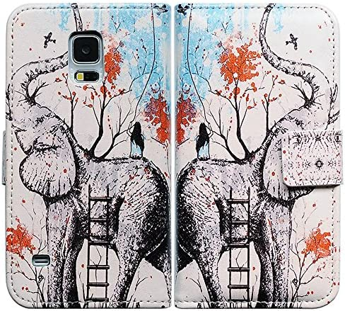 Bfun Packing Elephant Flower Card Slot Wallet Leather Cover Case for Samsung Galaxy S5 GS5 product image