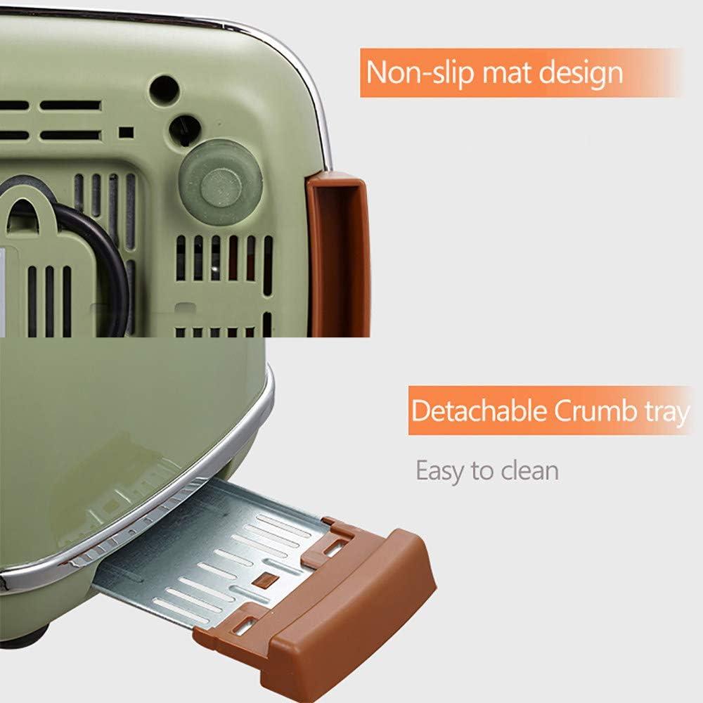 Grille-Pain RéTro Pain Petit DéJeuner Cuisson Machine MéNage Cuisine Automatique Simple/Double CôTéS Cuisson Doublure En Acier Inoxydable,White Green