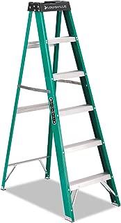 Louisville FS4006#592 Folding Fiberglass Step Ladder, 6 ft, 5-Step, Green/Black