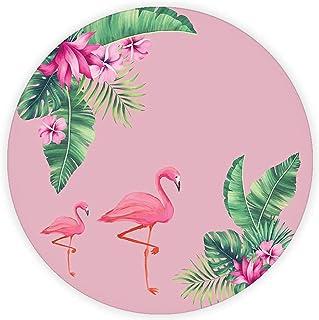 Tropik Yapraklar & Flamingo | Cam Kesme Tahtası (Çap 32cm)