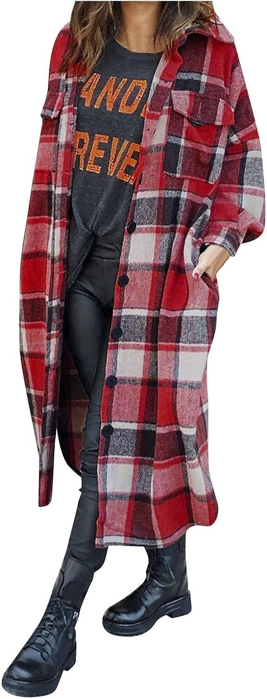 Womens Casual Plaid Woolen Shirt Jacket Wool Blend Long Sleeve Button Down Plaid Shacket Long Jackets Tops