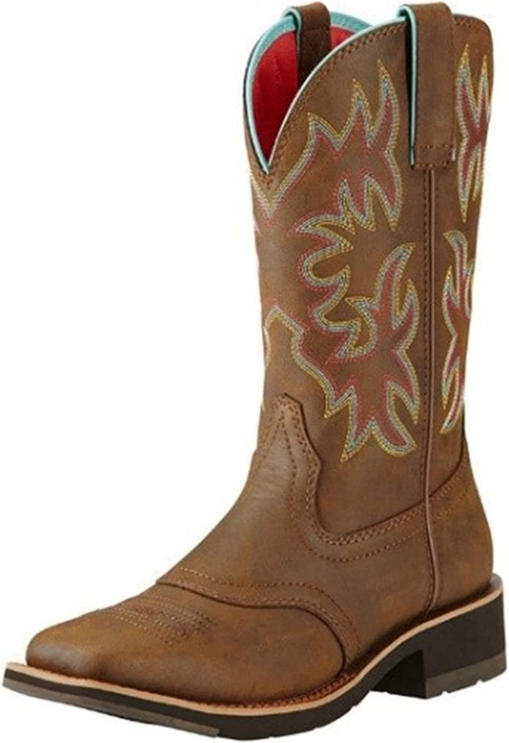 MeiLuSi Cowgirl Boots for Women Vintage Embroidery Cowboy Western Boots Square Toe Floral Mid Calf Boots