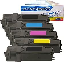 Inktoneram Compatible Toner Cartridges Replacement for Dell 2150/2155 2155cdn 2155cn 2150cdn 2150cn 331-0719 331-0716 331-0717 331-0718 ([2-Black,Cyan,Magenta,Yellow], 5-Pack)