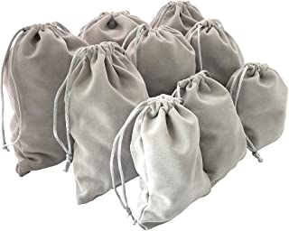 Jiary Velvet Cloth Drawstring Pouches Handy Gifts Jewelry Bags Pack of 9 Gray (3 Assorted Sizes)
