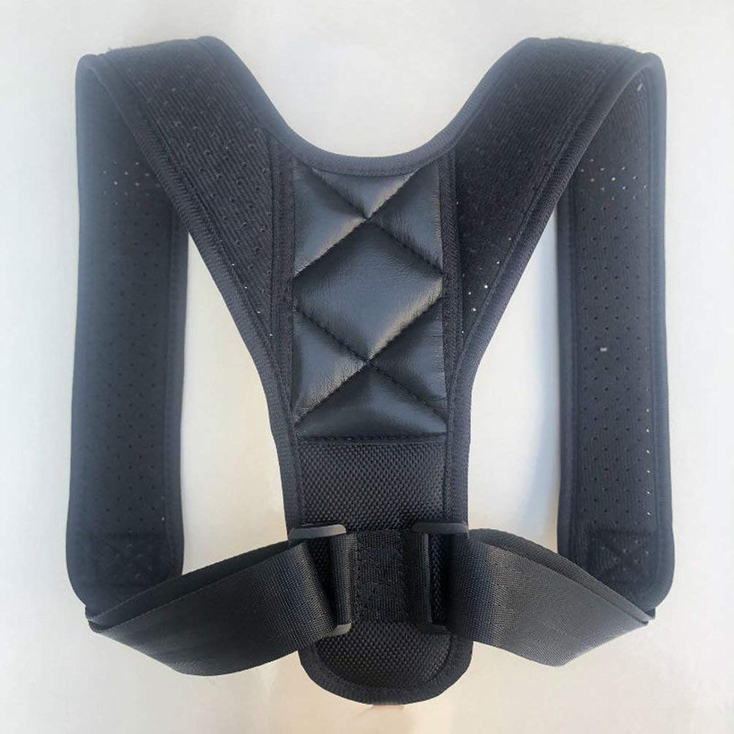 に対してミサイルバドミントンアッパーバックポスチャーコレクター姿勢鎖骨サポートコレクターバックストレートショルダーブレースストラップコレクター - ブラック