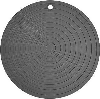 Vanly 耐熱鍋敷き 丸型 24cm シリコン製 薄型 滑り止め フローマーク 栓抜き 北欧風 快速放熱 壁に掛けられ 防水 断熱パッド コースター 絶縁 柔軟 キッチン用品 (グレー)