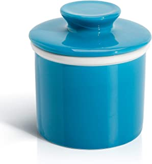 Sweese 305.107 Porcelain Butter Keeper Crock - French Butter Dish - No More Hard Butter - Perfect Spreadable Consistency, Steel Blue