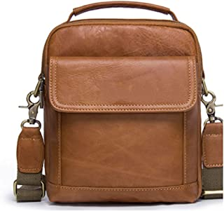 "Crossbody,Tote Bag,Mens Genuine Leather Single-Shoulder 9"" Mini iPad Messenger,Handbag for Women Men"