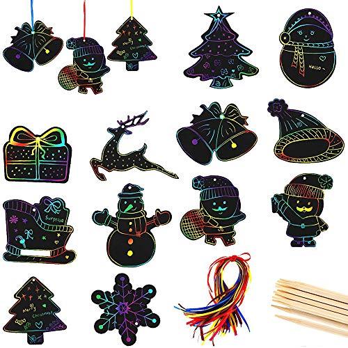 Kratzbilder Set für Kinder Weihnachten Kratzpapier Set, 48 Regenbogen Kratzpapier zum Zeichnen und Basteln mit 20 Schablonen Papier DIY Geschenkanhänger für Jungen & Mädchen Geburtstage Geschenk