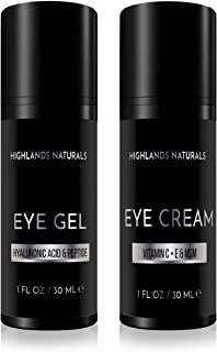 Highlands Naturals Premium Eye Care Set for Men | Reduce Dark Circles, Puffiness, Under Eye Bags, Wrinkles & Fine Lines | Daily Defense & Advance Skin Care Treatment | NATURAL & ORGANIC | 2 Oz