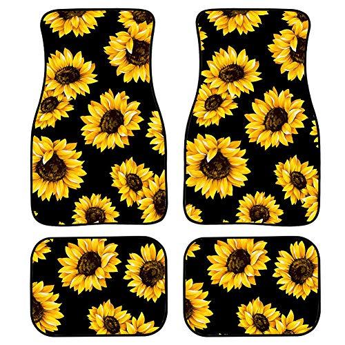 chaqlin Customized Floor Car Mat Sunflowers Black Universal Fit Car Floor Mats Holiday Decro Fit for SUV,Vans,sedans, Trucks,Set of 4