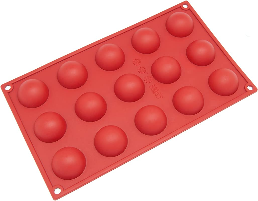 Freshware SM 100RD 15 Cavity Silicone Mini Half Sphere Chocolate Candy And Gummy Mold