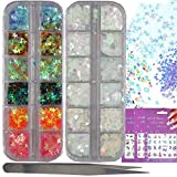 Holographic Star Nail Sequins AB Clear Iridescent Chunky Festival Glitter Crafts Flake Resin Decorations Tweezers Water Transfer Nail Decals for Nail Art, Cosmetic, Party. (LIFE26)