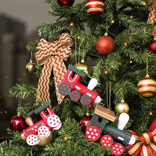 aheadad 6 Pendente per Locomotiva Artigianato in Legno colorato Decorazione Natalizia Albero di Natale Useful