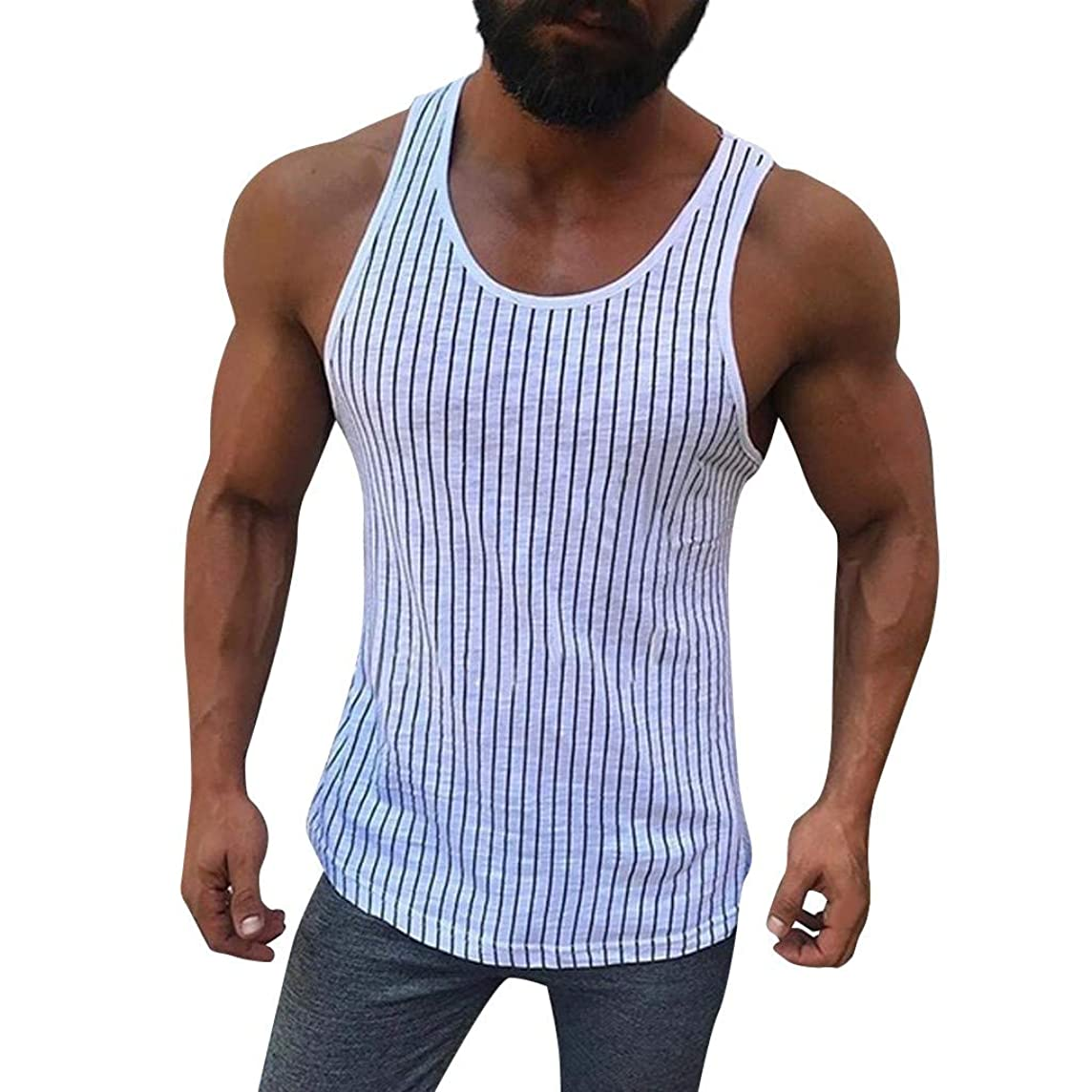 POQOQ Vest Tops Men Fitness Muscle Striped Print Sleeveless Bodybuilding