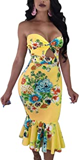 Women's Floral Mermaid Mid-Calf Bodycon Tube Dress