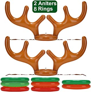 TURNMEON 2 Pack Inflatable Reindeer Antler Ring Toss Game for Christmas Halloween Thanksgiving Xmas Party Game Headband Inflatable Toys for Holiday Family School Photo Props Game(2 Antlers, 8 Rings)