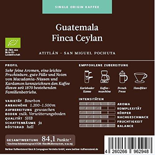BKR | Kaffee | Guatemala | Finca Ceylan Bio | Arabica | Single Origin 250g Gemahlen