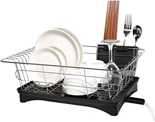 Dish Drying Rack, Dish Racks with Drain Board Utensil Holder Stainless Steel Generic Plate Dishes Drainer for Kitchen Counter over Sink Sturdy DrainBoard- 16.7 x 11.2 x 5.9 IN (1 tier Small Size)