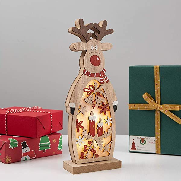 Panzisun Christmas Wooden Pendants Ornaments Xmas Tree Ornament DIY Wood Crafts Kids Gift For Home Christmas Party Decorations B