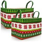 com-four® 2X Weihnachtskorb - Geschenkkorb in weihnachtlichem Design - Weihnachtsdekoration - Geschenktasche Weihnachten (2 Stück - grün. weiß. rot)