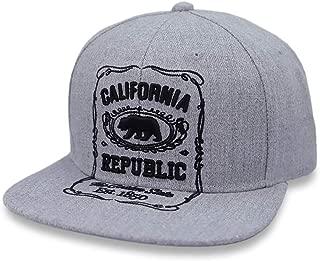 California Republic Snapback Hat Bear Cali 3D Design Baseball Cap