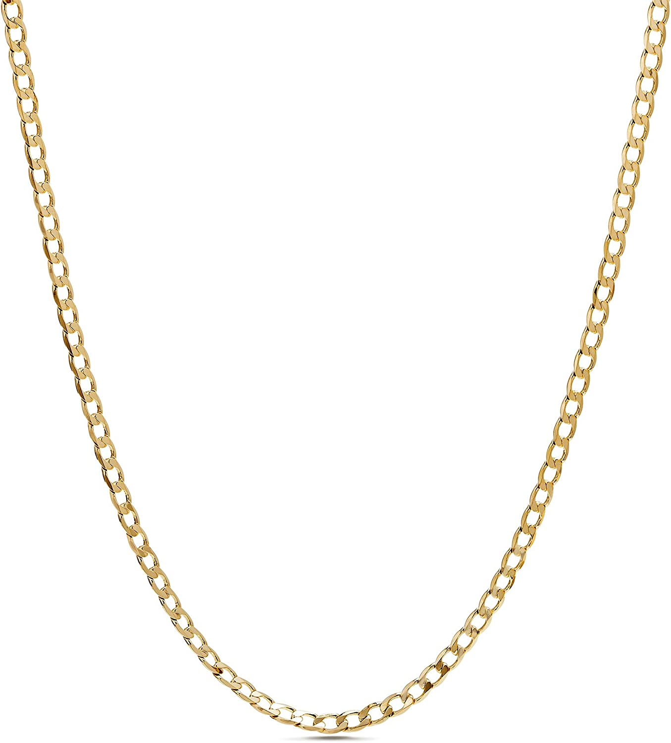 Nautica 1mm - 3mm Curb Chain Necklace for Men or Women in Yellow Gold Plated Brass