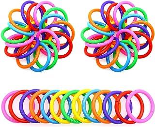 QUMENEY 100 pièces anneaux de feuilles mobiles en plastique anneaux de reliure multicolores anneaux de livre flexibles pou...