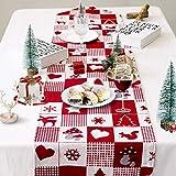 Camino de Mesa Navidad, Rojo Camino de Mesa de Navideño Decoración de Escritorio Enrejado Mantel para Comedor con Patrón de Alce Copo, Nieve, Árbol de Navidad, 170 * 35cm