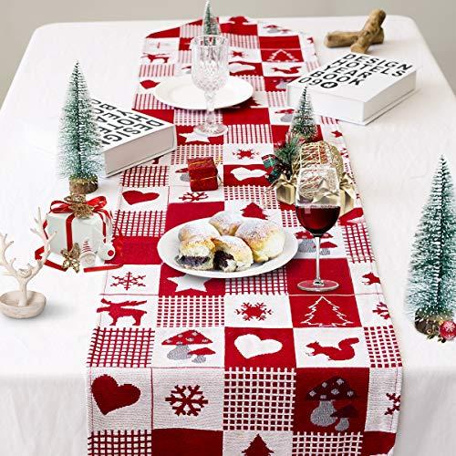 Tafelloper, tafellinnenloper voor eetkamer, kersttafeldecoratie Desktopdecor met kerstboom sneeuwvlok elandenpatroon, rood rooster
