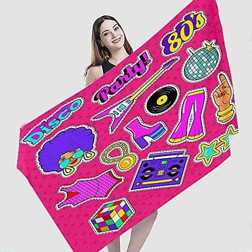 """Art Beach Towel,Disco Party Doodle Music Fashion Woman Guitar and Trendy Stickers,Microfiber Super Absorbent Beach Blanket for Travel Beach Camping Swimming Outdoor Towel Mat,27""""x55"""""""