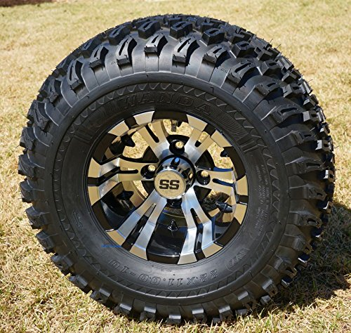 10' Vampire Machined/Black Golf Cart Wheels and 22x11-10 All Terrain Golf Cart Tires - Set of 4