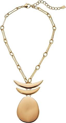 Robert Lee Morris - Gold Short Pendant with Totem Detail Necklace