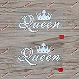 2X White 4'' Queen Crown Decal Sticker Car Vinyl no bkgrd Die Cut