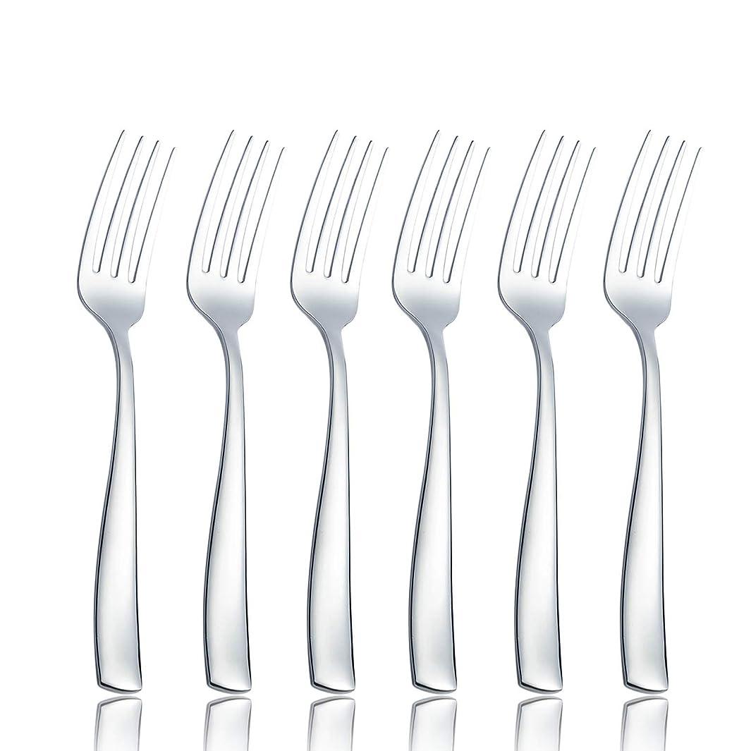 OMGard Salad Fork Sets 6 Piece 18/8 Stainless Steel Flatware 6.7-inch Toddler Dinner Dessert Forks Only Set of 6 Weight Table Silverware Eating Utensils Cutlery Dishwasher Safe Mirror Finished 6/Case