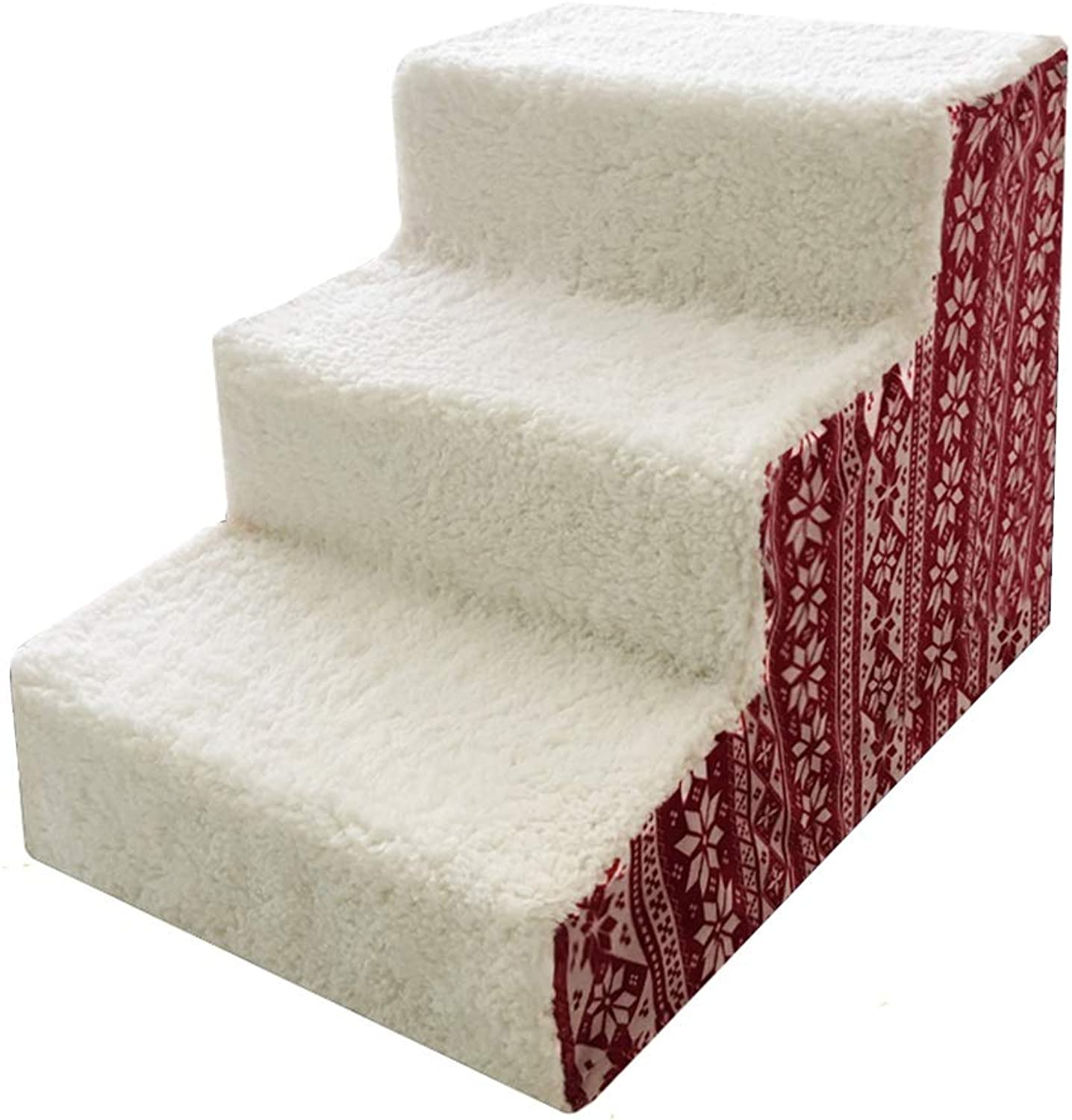 LXLA  Pet Bed Stairs, 3 Steps for Dogs Cats, Great for Living Room and Bedroom, Removable Washable, 60 × 40 × 40cm