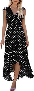 DMZing Maxi Vestido de Mujer a la Moda Casual Lunares Vestido de Sirena Boda Playa Fiesta, Negro, XL