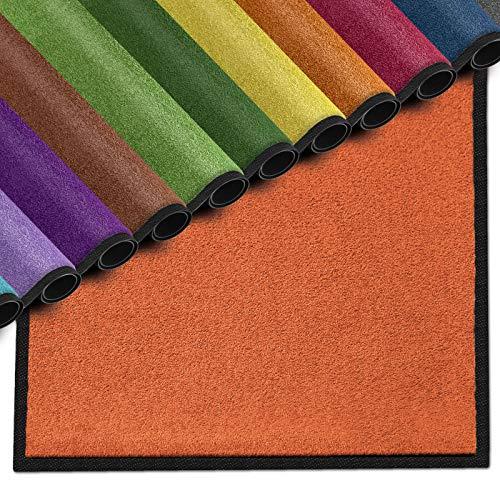 casa pura Premium Fußmatte für Innenbereich | Schmutzfangmatte als Fußabtreter | mit Brandschutzklasse B1 | in vielen Farben und Größen (Orange 035-50x80 cm)